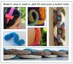 Flat i-cord for headbands, straps, purse handles. Also examples of knit resilient cast on