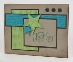 handmade birthday card .... kraft base ... aqua and green ... colors of the beach ... clean lines ... great layout ... Stampin' Up!