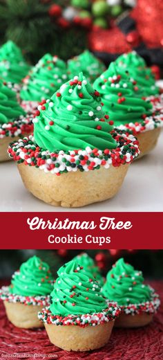 Christmas Tree Cookie Cups are fun, yummy and very easy to make. Try this special Christmas Treat and they will become ian nstant family favorite Christmas Cookie. (They'd be a great for a Cookie Exchange too!) Follow us for more more great Christmas Dessert ideas.
