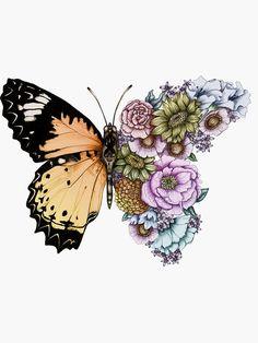 Butterfly Drawing, Butterfly Wallpaper, Butterfly Flowers, Cute Tattoos, Beautiful Tattoos, Small Tattoos, Art Drawings Sketches, Tattoo Sketches, Metamorphosis Tattoo