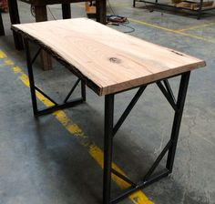 Live Edge Square Tube Table, made at Woodstock Vintage Lumber in Nashville, TN.
