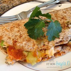 The 21 Day Fix Chicken Avocado Quesadilla is such a hearty meal that will leave you satisfied and forgetting your are on a healthy eating plan!
