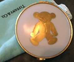 Tiffany and Co Limoges France Unique Teddy Bear Porcelain Trinket Box- Perfect Baby Gift