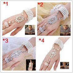 The Great Gatsby Bracelet Ring Set and Headband, Daisy Buchanan White Pearl Bracelet, Swarovski Crystal Headpiece, Wedding Jewelry-198475346