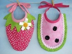 Strawberry and watermelon bibs