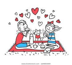 Стоковая иллюстрация «Lovers Girl Guy On Picnic People