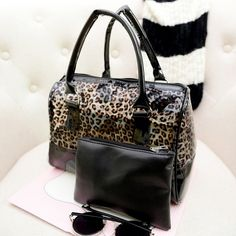 Wish | women lady new fashion leopard pattern trasparent pvc jelly leather boston bag hand bag clutch composite bag