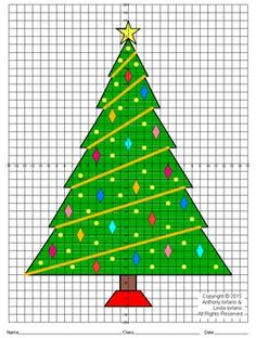 Four Quadrants  fractional points with 1/2  Portrait GridThis coordinate plotting and drawing activity is ideal for the Christmas season. The students will create a drawing of Christmas tree with ornaments. This will be created by plotting ordered pairs and then connecting them with straight lines.This project is fun for the student and makes a great bulletin board idea as well.