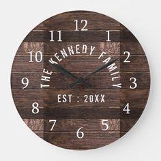 Rustic Wood Family Name Farmhouse Large Clock | Zazzle.com.au Farmhouse Mantel, Farmhouse Wall Clocks, Rustic Wall Clocks, Wood Clocks, Modern Farmhouse, Farmhouse Style, Diy Rustic Decor, Rustic Design, Rustic Wood