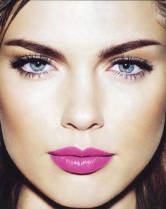 soft make-up and bright pink lips