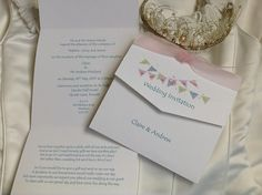 Summer Bunting Tri Fold Wedding Invitations. Shop online at www.daisychaininvites.co.uk