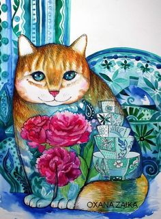 "♥ ""Cat"" by Oxana Zaika on ARTwanted."