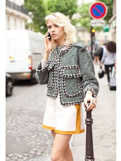 Fall 2013 Couture Week Street Style: Elena Perminova, wearing a Chanel jacket and Fendi shorts