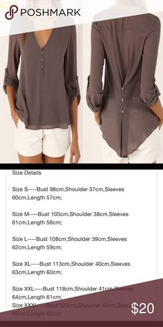 Sheer Chiffon Shirt Sexy chiffon v-neck shirt, button slim waist, long sleeves with single button that can be worn buttoned higher on the sleeve or down, marked XL but runs small (see sizing chart in cm), all buttons except on sleeves are for decoration only, Light brown, new in bag Tops Blouses