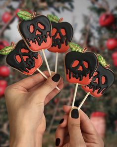 Dip the apple in the brew let the Sleeping Death seep through One bite of these Poison Apple cookie pops and. you might just need a nap after the sugar crash Halloween Chic, Halloween Cake Pops, Halloween Sugar Cookies, Halloween Sweets, Halloween Baking, Halloween Food For Party, Apple Cookies, Fall Cookies, Crazy Cookies