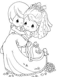 Married Precious Moments Coloring Pages - Precious Moments cartoon coloring pages