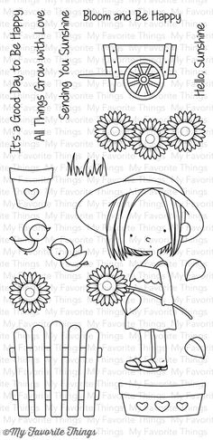 A new stamp set I illustrated is going to be releas. Art Drawings For Kids, Doodle Drawings, Doodle Art, Embroidery Patterns, Hand Embroidery, Happy Sunshine, Quilting Templates, Mft Stamps, Christmas Cards To Make