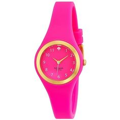 Kate Spade Women's 'Rumsey' Pink Silicone Quartz 1YRU0608 ($119) ❤ liked on Polyvore featuring jewelry, watches, pink, snap button charms, dial watches, silicone strap watches, kate spade watches and clasp charms