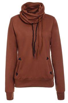 Stylish Cowl Neck Long Sleeve Solid Color Women's Sweatshirt