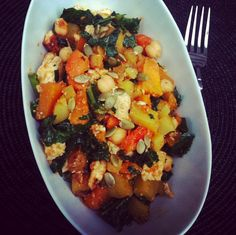 Miso-curry glazed squash, tofu & kale with chickpeas, potatoes and pepitas