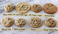 Various cookies made with different ingredients lined up in 2 rows