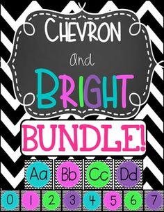 The perfect addition to your chevron and bright classroom! This alphabet strip and number line combo pairs the striking contrast of black and white chevron with 4 bold colors- turquoise, hot pink, purple and lime green! This BUNDLE contains the following products:Chevron and BRIGHT Number LineChevron and BRIGHT Alphabet StripPlease leave feedback in my TpT Store to earn credits toward future purchases.
