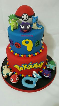 Fondant Pokemon birthday cake