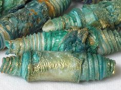 Mixed media textile art beads hand made with Tyvek - aqua, turquoise, sea green, ocean blue, jade, emerald and shimmering gold