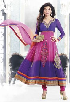#Pink and #Purple #Anarkali Churidar Kameez