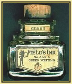 FIELD'S INK bottle - an early corked ink bottle which held green ink. On the label is the little 'inky' trade mark. This is an English company.