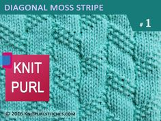 KNIT PURL STITCHES #1: Diagonal Moss Stripe