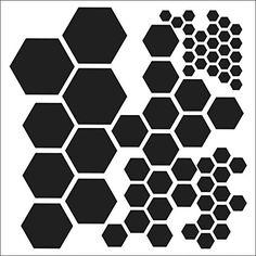 Multi-size hexagon stencil/template for painting, misting, chalk, etc. {The Crafter's Workshop - 12 x 12 Doodling Templates - Hexagons} Osiris Tattoo, Hexagon Tattoo, Geometric Stencil, Geometric Shapes, Stippling, Stencil Designs, Stencil Patterns, Sleeve Tattoos, Animal Print Rug