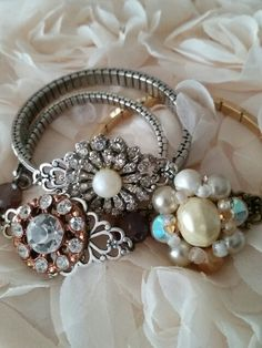 Cute little repurposed vintage watch band bracelets using repurposed earrings ~my rogue heart