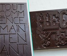 Typographic dark chocolate