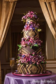 WOW! Amazing Chocolate Wedding Cake with Multi Colored Flowers