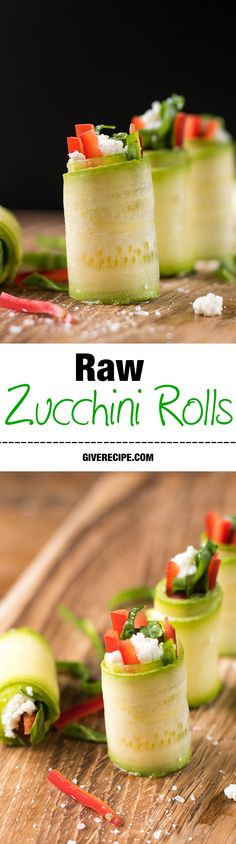 Raw Zucchini Rolls are perfect refreshing appetizers for summer parties! This is the cutest form of zucchini. Loved by everyone from kids to adults, from vegetarians to meat lovers. | giverecipe.com