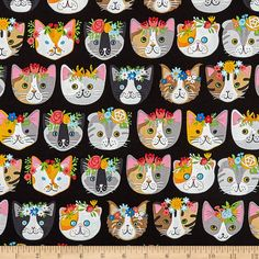 Whiskers & Tails Dressy Kitty - Black - Kaufman - Cat Fabric by the yard Cool Diy Projects, Craft Projects, Sewing Projects, Decoupage, Cat Patch, Cat Fabric, Retro Fabric, Cat Quilt, Michael Miller Fabric