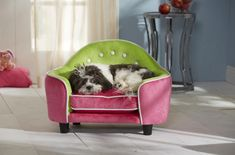 NEW! Ultra Plush Head Board Dog Bed -  Pink & Green  This Bed features the SNOOzZzONE comfort system for enhancing pets comfortness... Excellent for storing toys and bones... It has a removable and washable cushion cover... Features wood construction with elevated draft free sleeping . It has a full loft cushion. And is made from superior quality material and is also very durable! A Must have!