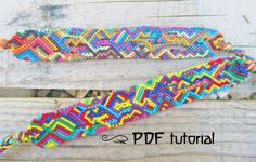 Abstract Friendship Bracelet DIY Colorful Jungle Asymmetrical Friendship Bracelet Making Pattern, Tutorial and Description in a PDF file