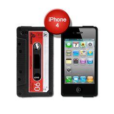 Funda iPhone 4 cinta de cassette negra   Tecniac