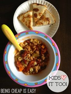 Kids love this pasta fagioli soup too!  via Being Cheap is Easy