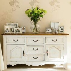 Sideboard styling - like the distressed white bottom and wood top