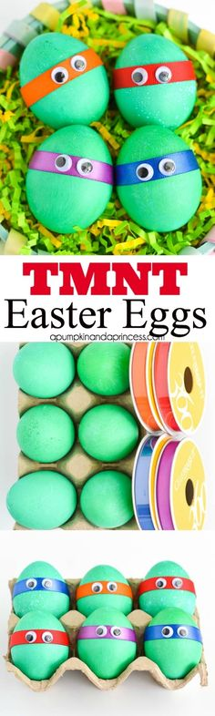 Dyed TMNT hardboiled Easter eggs for Easter egg hunt. Make them all or only your (or your child's) favorite Teenage Mutant Ninja Turtle