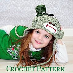 Leprechaun Sock Monkey Hats Crochet Pattern by SandysCapeCodOrig, $4.95