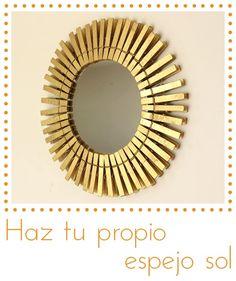 #Reducir, #Reciclar y #Reutilizar. Espejos decorativos báratos: espejo forma de sol con pinzas de ropa