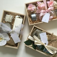 Decisions, decisions... | gift box custom gift curated gifts gift basket welcome gift welcome kit white pink floral boxed water wood burlap florals purim mishloach manos mishloach manot voss water mason jar labels barbona gifts
