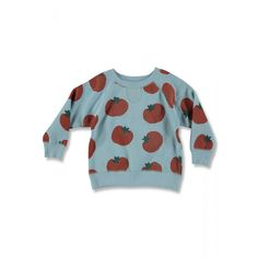 Casual sweatshirt for boys and girls with all over print POMODORO. The sweatshirt has a warm brushed inside finishing. Organic Cotton, Baby Kids, Kids Outfits, Unisex, Sweatshirts, Boys, Casual, Sweaters, How To Wear