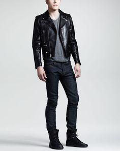 Saint Laurent Leather Motorcycle Jacket, V-Neck Wool Tee & Skinny Selvedge Jeans