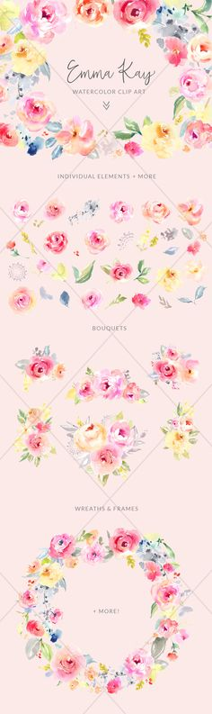 Watercolor Flower Clip Art by Angie Makes. These Little Watercolor Flower Illustration Pieces are Ready for Your Next Project. These Would Look So Cute on Printable Artwork, DIY Invitations, and more!
