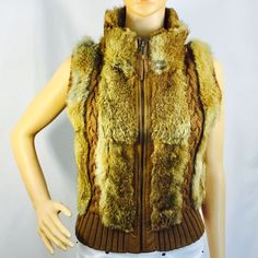 BCBG MAXAZRIA Vest, rabbit fur / wool, brown, size M #BcbgMAXAZRIA